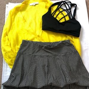 TALBOTS P BLACK AND WHITE STRIPED A-LINE SKIRT